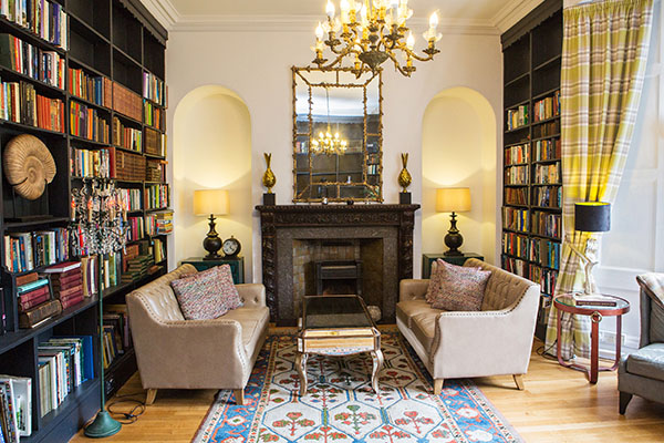 The library at Grays Court Hotel in York